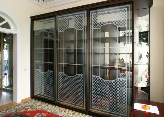 Tumšs iebūvējamais skapis viesistabā ar foto printu uz stikla durvīm