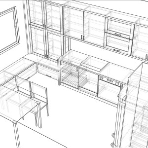 Iebūvējamās virtuves skice