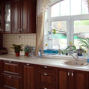 Iebūvējamā virtuve klasiskajā stilā ar daļēji stikla fasādēm