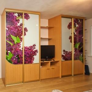 Iebūvējamie skapji viesistabā ar fotodruku uz stikla