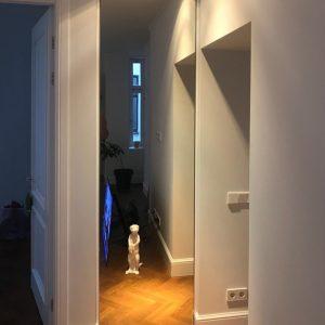 Шкаф с распашной без профильной дверью точно в размер проема.