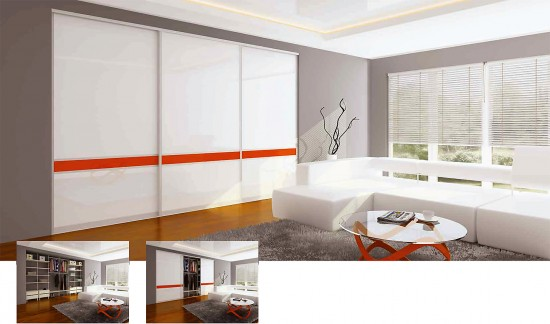 Balts iebūvējamais skapis viesistabā