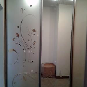 Iebūvējamie skapji ar Matēts ar apsmidzinājumu uz stikla durvīs