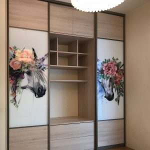 Шкаф-секция. В дверях комбинация - ламинат+стекло с фотопечатью.