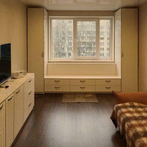 Комплект мебели для гостиной. Принт на стеклянных фасадах.